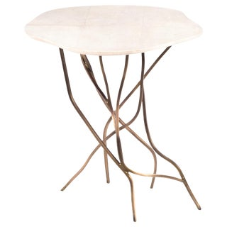 Acacia Side Table in Cream Shagreen & Bronze-Patina Brass by R&y Augousti For Sale