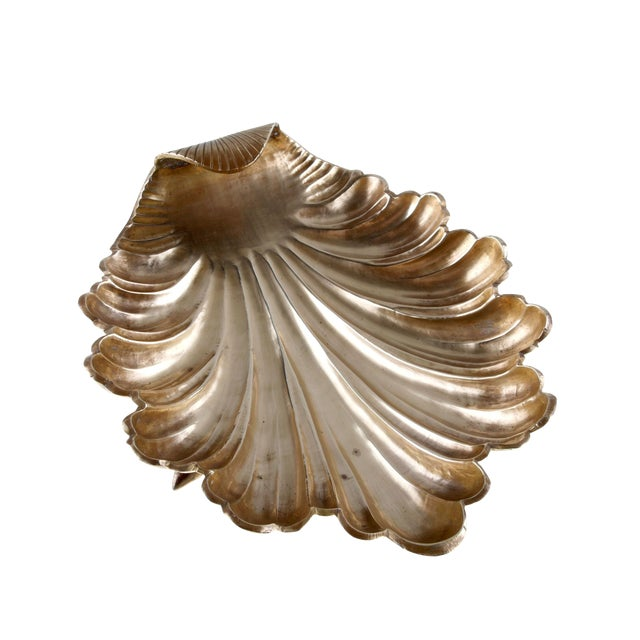 Handcrafted Solid Brass Seashell Bowl / Catchall For Sale