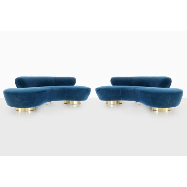 set of two Cloud sofas designed by Vladimir Kagan for Directional USA, circa 1970s freshly reupholstered in mohair, brass...