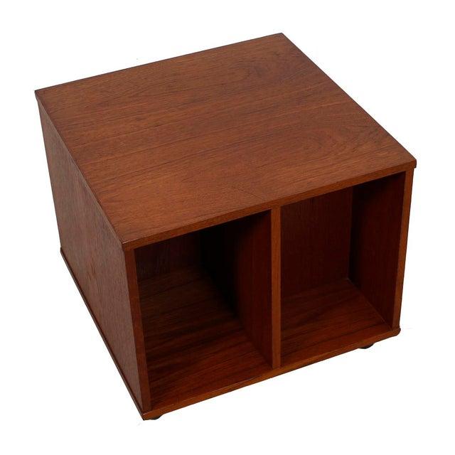 Rolling Vinyl / Book Caddy / Multifunctional Storage Cube in Teak - Image 3 of 10