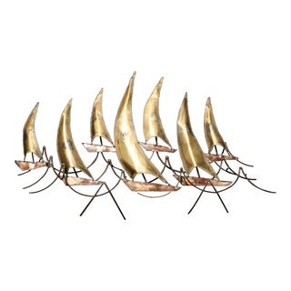 Mid-Century Metal Sailboats Wall Sculpture For Sale