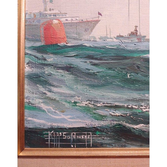 Canvas Kipp Soldwedel -Victory 1974 -Sailing Yacht - Original Oil Painting For Sale - Image 7 of 10