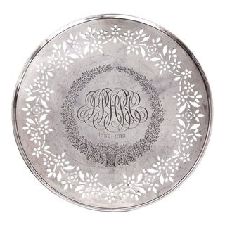 1910 Sterling Silver Bailey Banks Biddle Pedestal Plate Anniversary Monogram For Sale