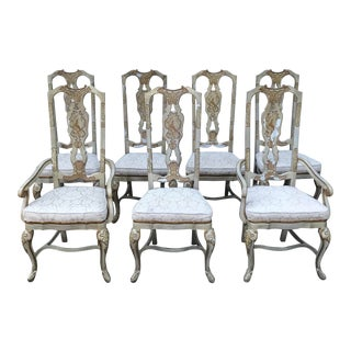 Drexel Heritage Sketchbook Collection Asian Chinoiserie Stenciled Dining Chairs - Set of 7 For Sale