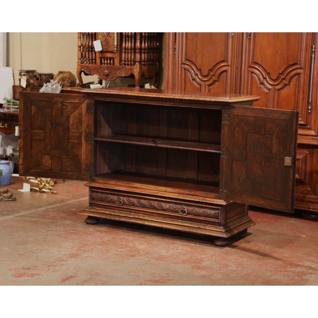 19th Century Italian Carved Walnut Two-Door Buffet Cabinet With Bottom Drawer For Sale - Image 4 of 13