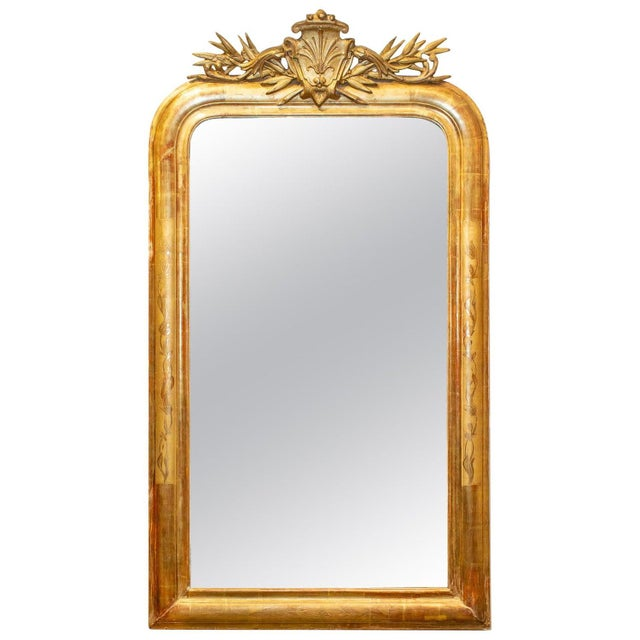 Antique French Gilt Louis Philippe Mirror With Ornate Cartouche and Floral Frame For Sale - Image 13 of 13