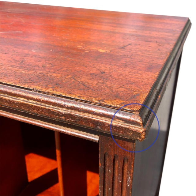 Mid 20th Century Antique Traditional Mahogany Carved Vinyl Record Cabinet Holder For Sale - Image 5 of 12