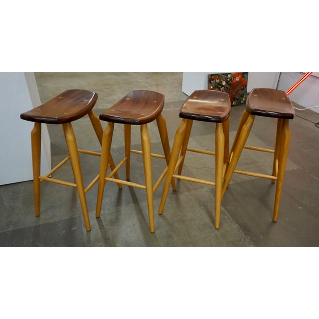 Set of 4 Mixed Wood Barstools For Sale - Image 9 of 10