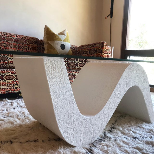 Vintage Post Modern Sculptural Plaster Wave Coffee Table For Sale - Image 9 of 12