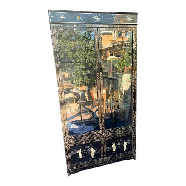 Vintage Black Lacquer Chinoiserie China Cabinet For Sale