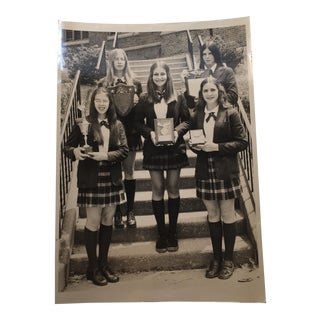 Girls Winning Awards Vintage School Photograph For Sale