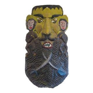 Vintage Mexican Folk Art Metal Mask For Sale