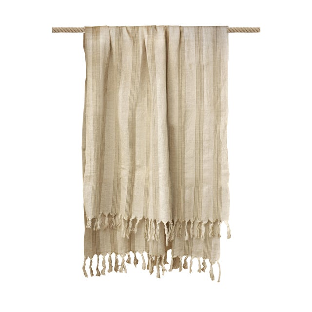 Linen Turkish Hand Made Towel With Natural/Organic Cotton and Fast Drying,37x73 Inches For Sale - Image 8 of 11