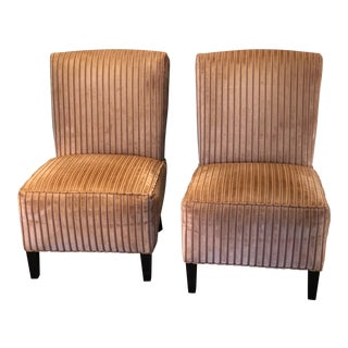 Transitional Burnt Orange Velvet Custom Slipper Chairs - a Pair