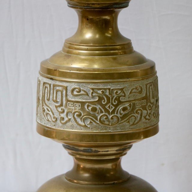 Mid-Century Chinese Brass Table Lamps - Pair - Image 5 of 9