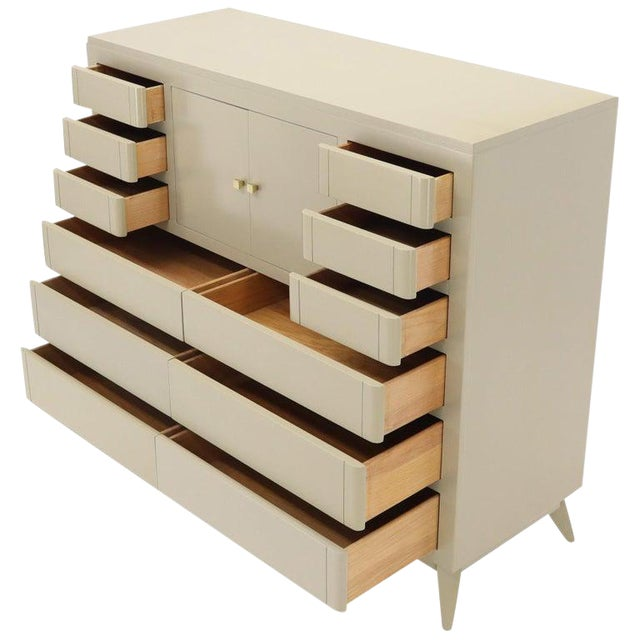 Multiple 12 Drawers Two Door Compartment Cube Shape High Wide Chest Dresser For Sale