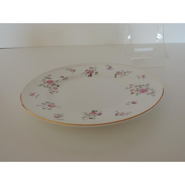 Modern Pink and White Limoges Dessert Floral Plate For Sale - Image 3 of 6