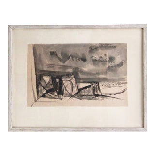 1960s Abstract Sumi Style Watercolor Painting by Kenneth Evett For Sale