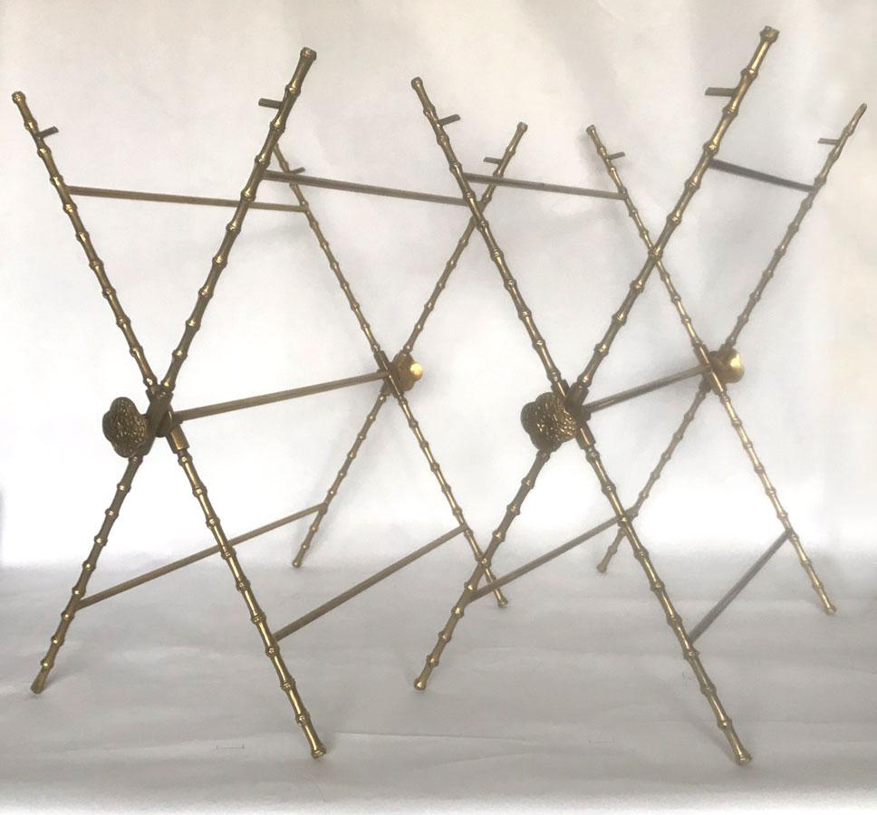 Asian Vintage X Base Solid Brass Folding Table Bases U2014 A Pair For Sale