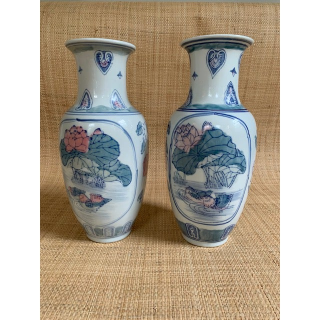 1980s Vintage Chinoiserie Pastel Colored Vases- A Pair For Sale In New York - Image 6 of 7