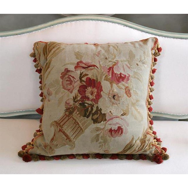 Antique Aubusson Pillow made from aubusson rug fragment with fringe.