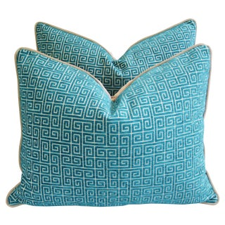 "Designer Turquoise Greek Key Velvet Feather/Down Pillows 24"" X 18"" - Pair For Sale"