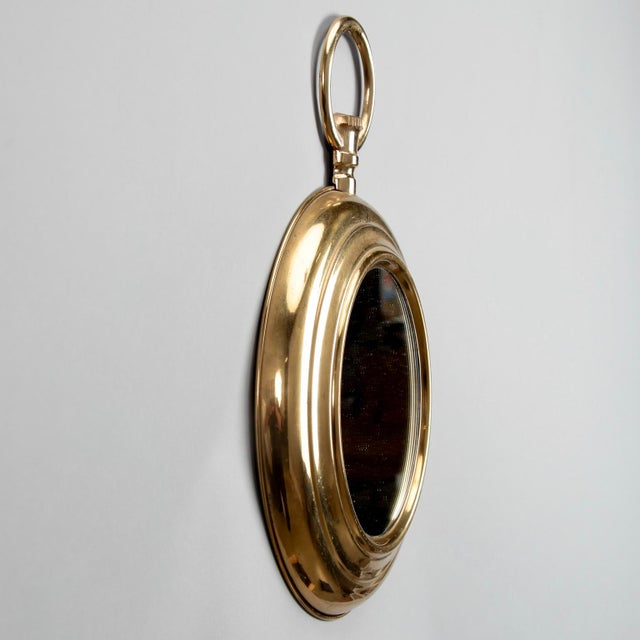 French Small French Mid Century Brass Pocket Watch Wall Mirror For Sale - Image 3 of 7