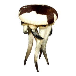 Horn and Cowhide Stool For Sale