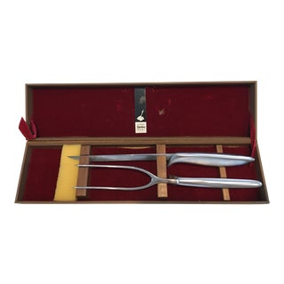Vintage Gerber Carving Knife and Fork in Presentation Box For Sale