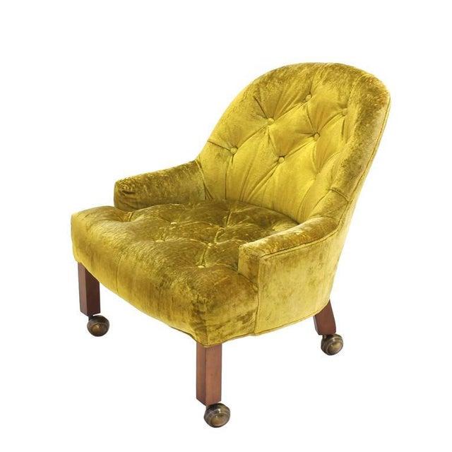 Pair of Gold Tufted Velvet Upholstery Vintage Barrel Back Slipper Lounge Chairs For Sale - Image 4 of 8