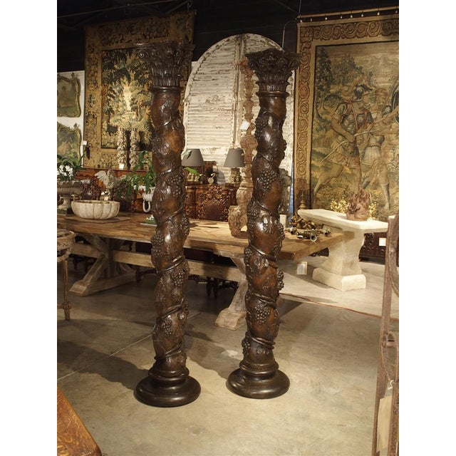 Brown 17th Century Carved Solomonic Columns From France - a Pair For Sale - Image 8 of 13
