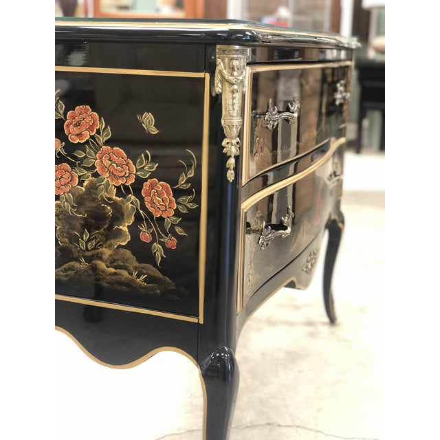 1970s 1970s Chinoiserie Lacquered 2-Drawer Chest For Sale - Image 5 of 13