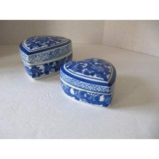 Blue & White Chinoiserie Heart Trinket Boxes-2 Pieces Preview