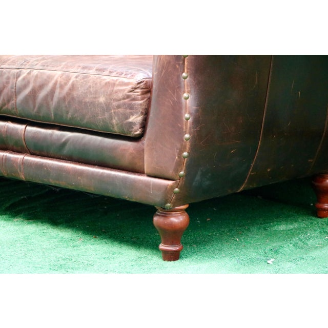Vanguard Furniture Americana Brown Leather Sofa For Sale - Image 9 of 11