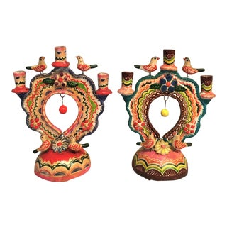 Vintage Mexican Pottery Folk Art Candle Holders - a Pair For Sale