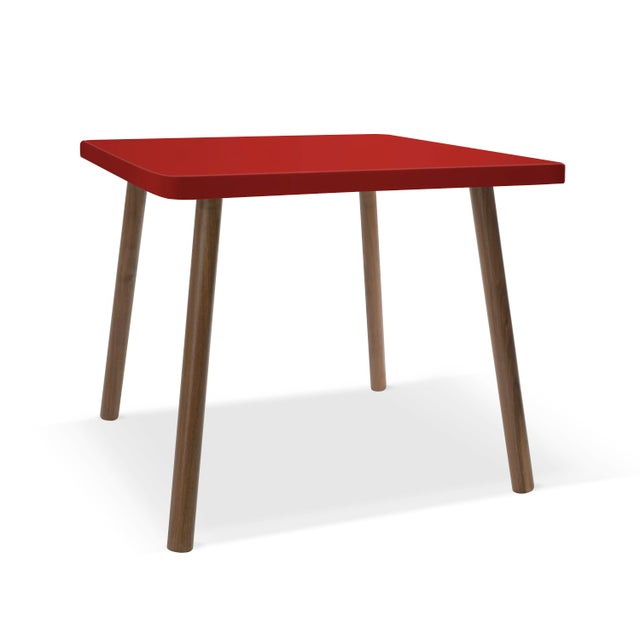 """Nico & Yeye Tippy Toe Large Square 30"""" Kids Table in Walnut With Red Finish Accent For Sale - Image 4 of 4"""