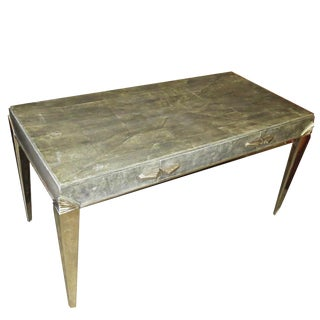 Art Deco Desk in Shagreen and Polished Nickel For Sale
