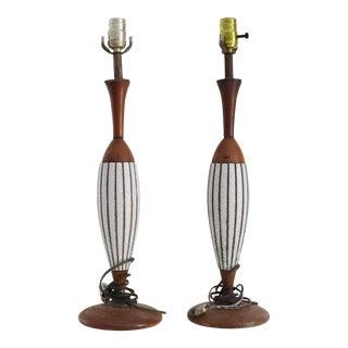 Mid-Century Ceramic & Wood Lamps - A Pair