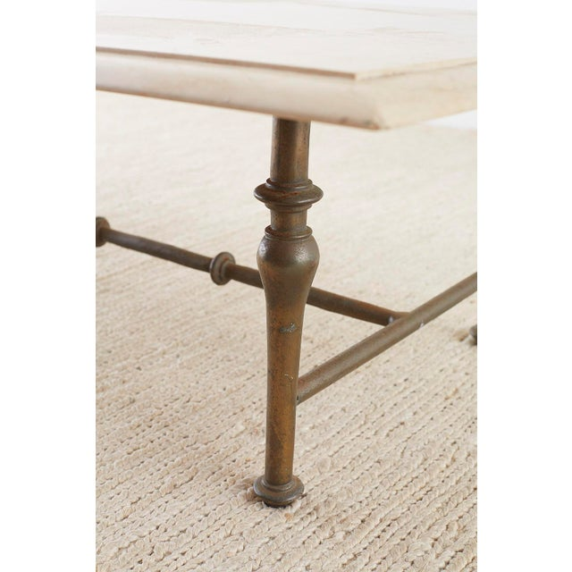 Gold Italian Hollywood Regency Marble-Top Brass Cocktail Table For Sale - Image 8 of 13