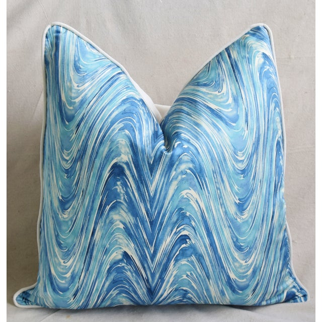 "Early 21st Century Blue/White Marbleized Swirl Feather/Down Pillows 24"" Square - Pair For Sale - Image 5 of 13"