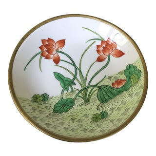 MCM Brass Lined Hand Painted Japanese PorcelainBowl Lined W/ Brass For Sale
