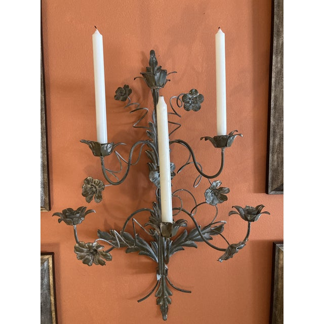 Rustic European Vintage Italian French Wire Sconces - A Pair For Sale - Image 3 of 10