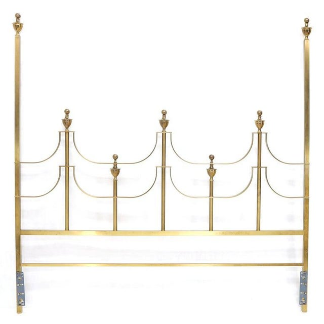 Mid-Century Modern solid brass headboard king bed by Mastercraft with cup shape finials.