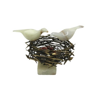 "Rare C. Jere Signed ""Bird Nest"" Table Sculpture For Sale"