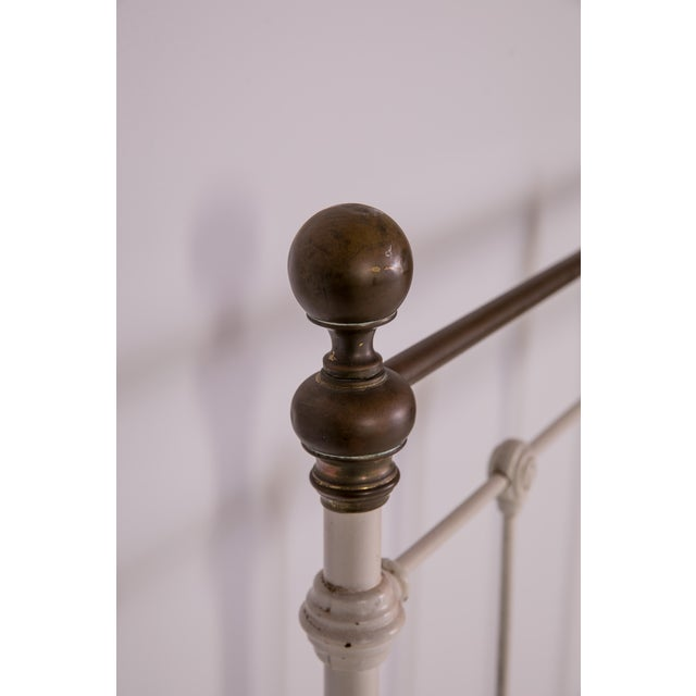 1910s 1910s Shabby Chic White Iron Victorian Bedframe For Sale - Image 5 of 12