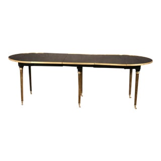Ebonized Black Lacquered Ebonized Brass Trimmed Maison Jansen Dining Table For Sale