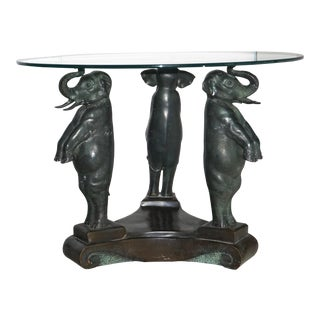 Hollywood Regency Figural Bronze & Glass Elephant Table Midcentury For Sale