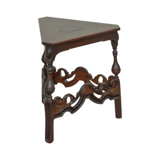 Kittinger 1920s Jacobean Revival Walnut Triangle Side Table For Sale