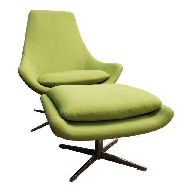 Mid-Century Lime Green Swivel Lounge Chair & Ottoman - Image 1 of 11