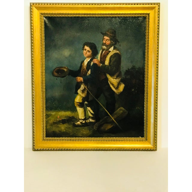 19th Century 19th Century French Peasants, Oil on Canvas For Sale - Image 5 of 5